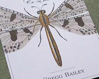 Personalized bookplate with vintage dragonfly illustration, set of 24