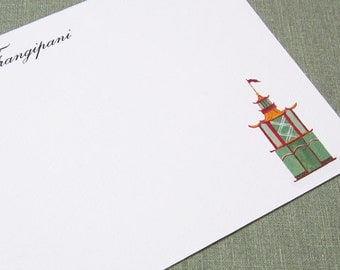 PERSONALIZED STATIONERY, Chinoiserie Pagoda Design, set of 15
