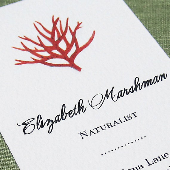 Red Coral Business Card,Coral, Set of 50