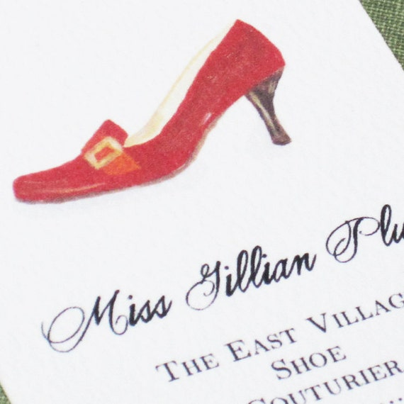 CUSTOM BUSINESS CARDS -  with  Red Shoe Illustration - Set of 50