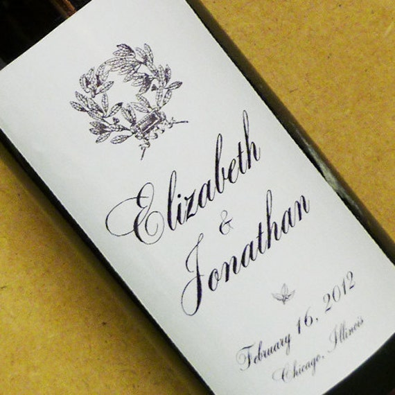 Custom Wine Labels - Personalized Wedding Wine Bottle Labels, Elegant Script