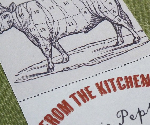 From the Kitchen of   Sticker or Bookplate with Cow Diagram, set of 18