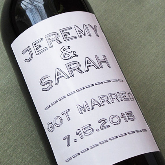 Personalized wedding wine labels with casual style