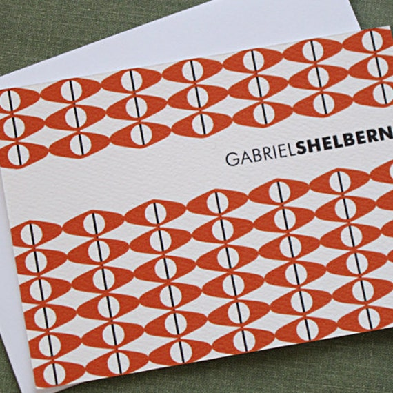 Personalized Modernist Flat Card Note Set, set of 15