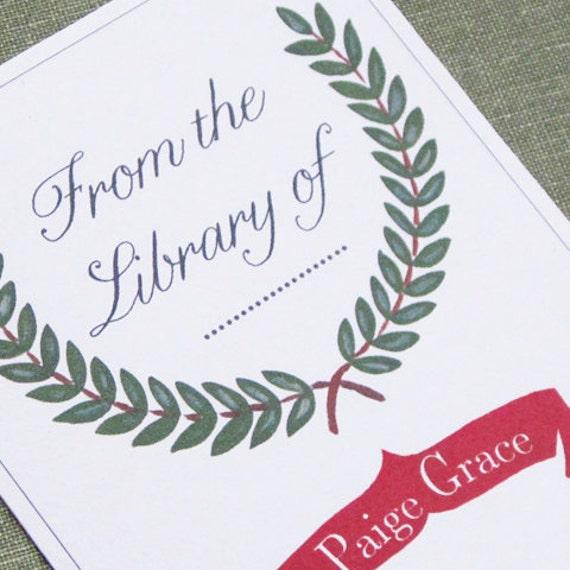 Custom Bookplates  with laurel wreath motif, set of 24