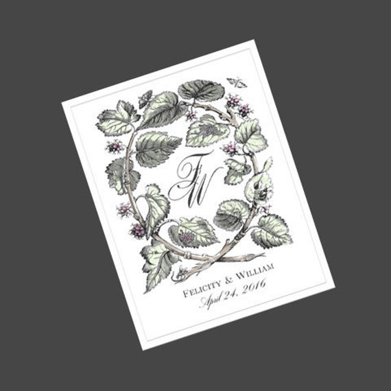Wedding Wine Labels with monogram - romantic, nature, elegant in theme
