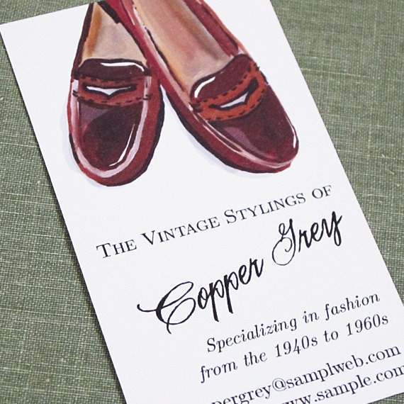 Personalized Business Card with Vintage Penny Loafers Illustration