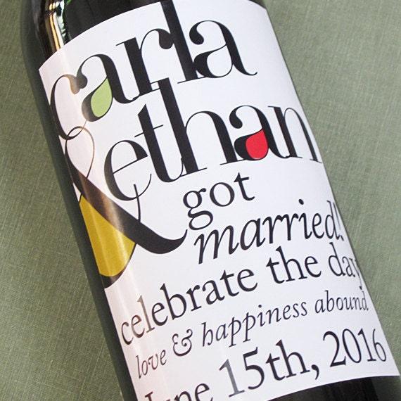 Items similar to Modern Wedding Wine Label on Etsy