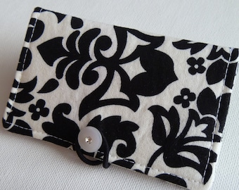 Business card holder/mini wallet/business card wallet/gift card case women - blue chevronDamask Black and White Business