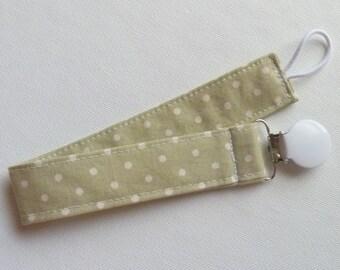 Pretty Polka Dot Pacifier Clip - White Clip