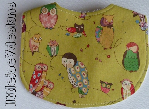 Owls Baby Bib - Spotted Owls in Tea Green