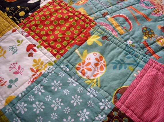 Wee Woodland Baby Quilt, Ready to ship