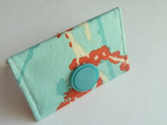 Card Case-Teal and Orange Birds Business Card/ID Wallet