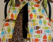 Infant Car Seat canopy cover Cuddler -- MADE TO ORDER -- Rk Zoologie Owl in cream-- sage green, brown, tan, orange, blue