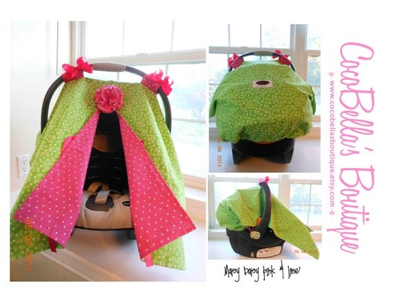 Infant Car Seat canopy cover Cuddler -- READY to SHIP -- Maisy Daisy - pink and lime