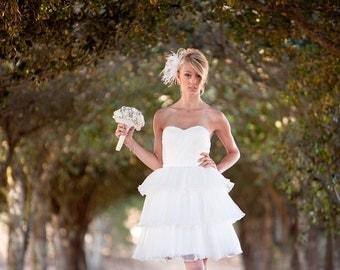 Alvina- Knee Length Wedding Dress,  reception  Dress, Garden Wedding, short wedding dress