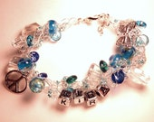 ID Bracelet : Youth/Kids Blue Butterfly and Peace Sign