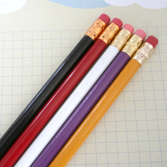 your 6 six custom engraved pencil pack. your name or favorite phrase. left handed pencils available. write notes with style.