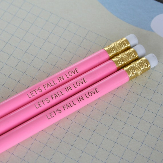 lets fall in love. three 3 flamingo pink pencils. take a leap of love for that certain someone, or writing in your diary.
