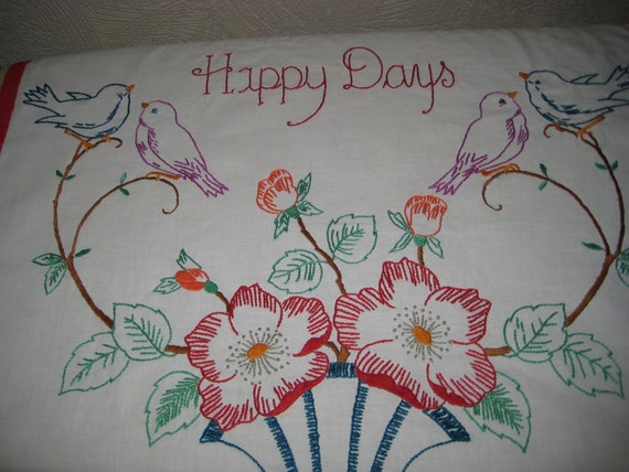 Happy Days embroidered print ,table linen