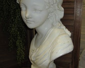 Vintage Distressed Shabby Chic Chalk Ware Bust of a Girl