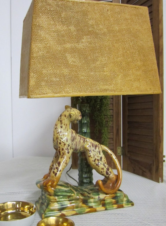 1950 Royal Haeger Leopard Lamp with Original Shade and Finial Mid Century Retro Monkey