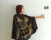 Bohemian style brown knit and fabric poncho, recycle and new fabric  tricot mix hand stitching.Repurposed