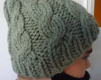 Dark Green Cable Beret, Cable Knit Hat, Green Mens Hat, Green Hat, Forest Green Beret, Forest Green Beanie ,Mens Accessories, Sea Green Hat.
