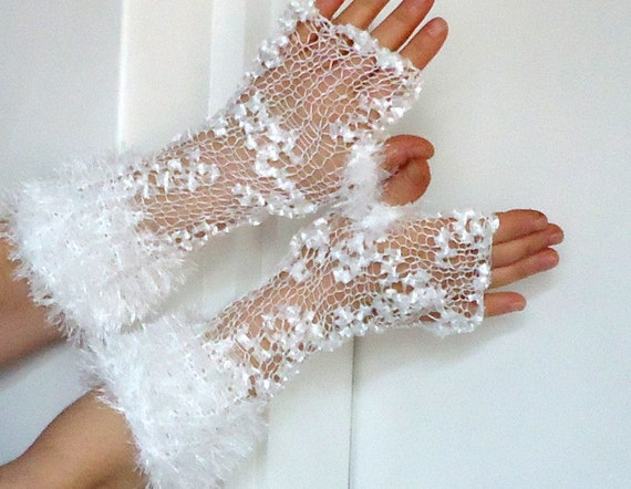 white bridal gloves fingerless gloves  hand knitting  crochet.