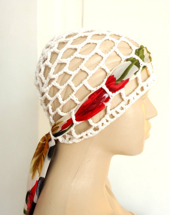 Womens Crochet Hat  Summer Beanie Hat  protect the hair wind cream and fine floral fabric.