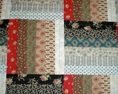 Hand Quilted Split Rail Fence Quilt in Reproduction Civil War Fabrics