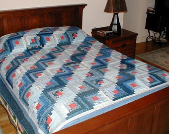 Log Cabin Quilt Shades of Blue Full/Double Bed Size Hand Quilted