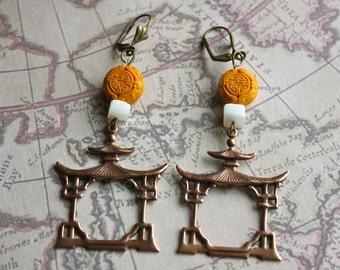Copper Pagoda Frame Earrings