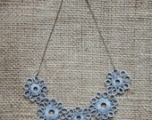 Sunbreak Tatted Symmetrical Flowered Necklace - Gray and Silver - Huang Nan 18