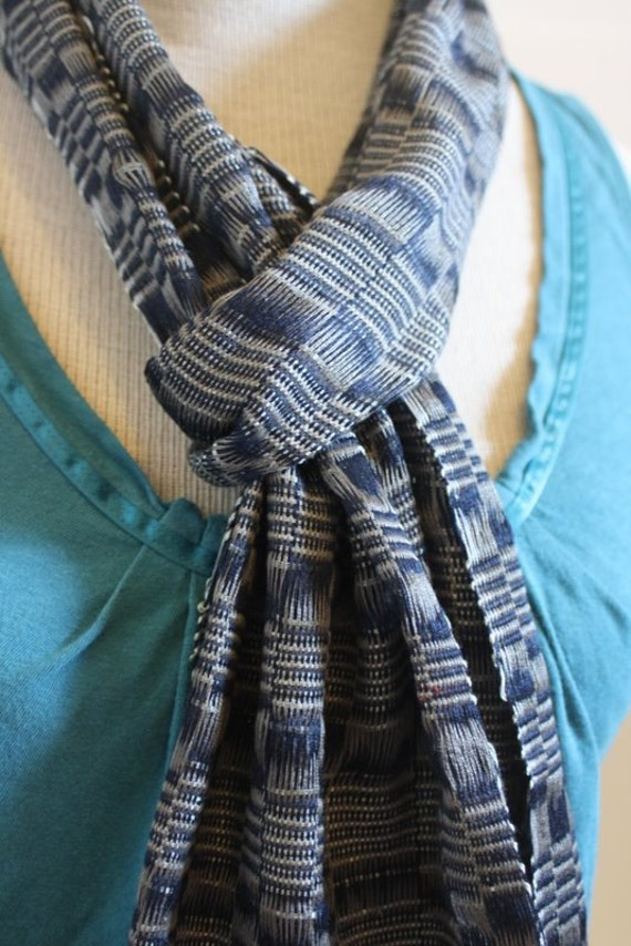 Handwoven Navy and Silver Checkered Scarf - Ma Kay 20