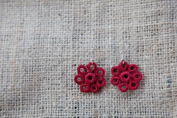 Rich Red Tatted Flower Earrings - Red and Silver - Nomia
