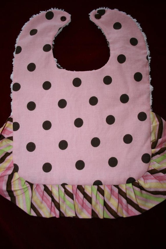 SALE 50% off Bib with Ruffle Reversible Pink Brown Dots and Chenille