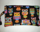 black/multi owl wristlet