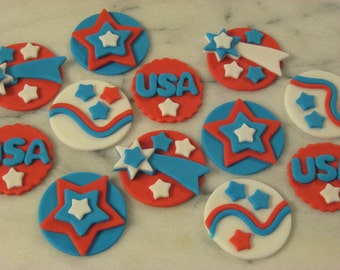 Star Spangled, Independence Day, Patriotic, Personalized, Edible Fondant Cupcake or Cookie Toppers