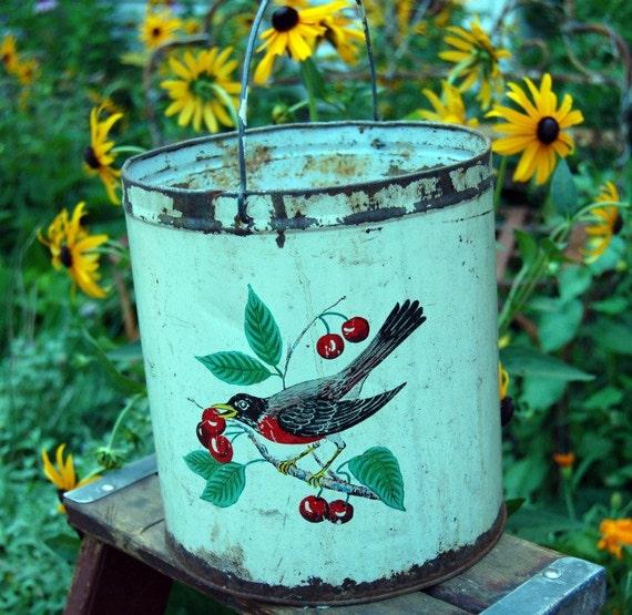 Vintage ROBin metAL  SAP BUckET