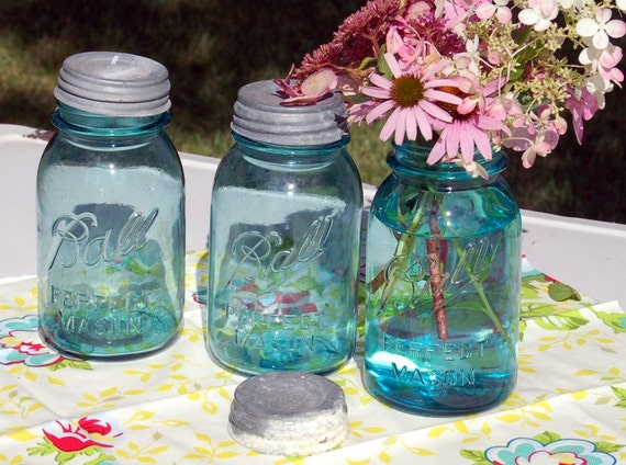 Collection of Vintage Ball Perfect Mason Aqua Blue Jars