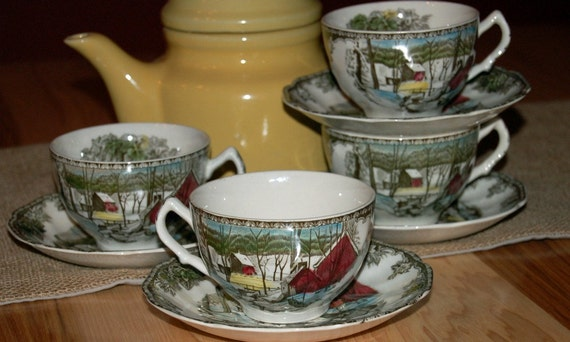 Set of Four ICE HOUSE  Friendly Village Tea Cups and Saucers Johnson Brothers England China