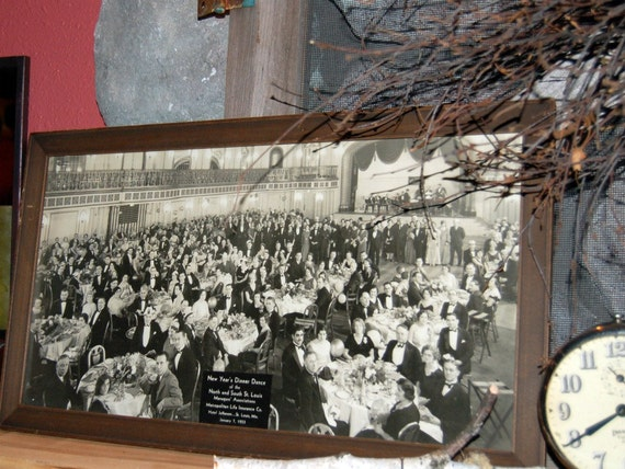 PaNoramic Vintage PhotoGraph of New Years's Dinner Dance St Louis Metro Life Insurance Co