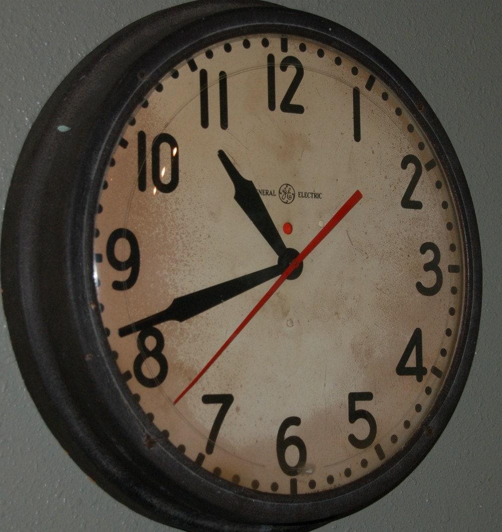 Huge Vintage General Electric School Industrial Clock
