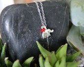 FREE Shipping Sterling Silver Charm Necklace-Tiny Elephant and Ruby Red Stone