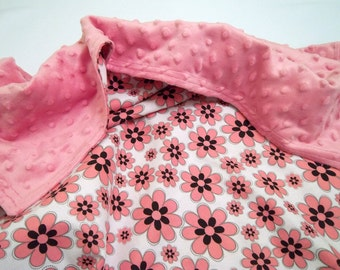 Pink Flower Design Minky Baby Blanket/ Ready to Ship
