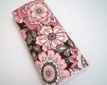 Pink and Brown Flower print burp Cloth. Ready to ship.