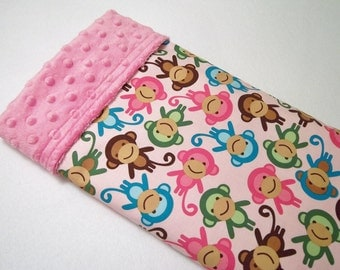 Urban Zoologie Monkeys Pink Baby Blanket ,Ready to Ship