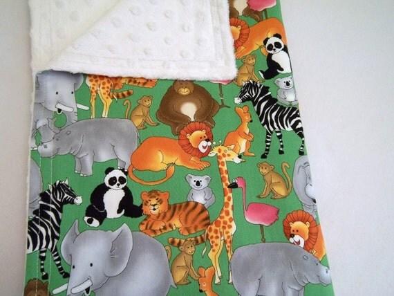 SALE save 20% Animal Print Design Minky Baby Blanket