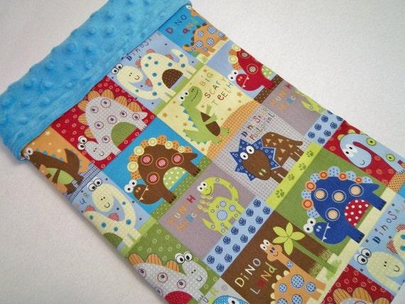 Happy Dinosaurs./Soft Minky Baby Blanket ,Ready to Ship
